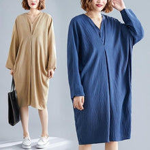 Load image into Gallery viewer, omychic plus size oversize cotton linen vintage for women casual loose midi autumn dress