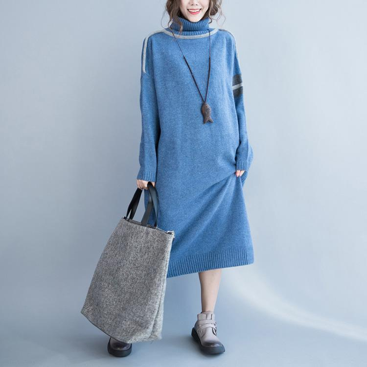 aesthetic Sweater weather plus size high neck light blue baggy knitwear dresses