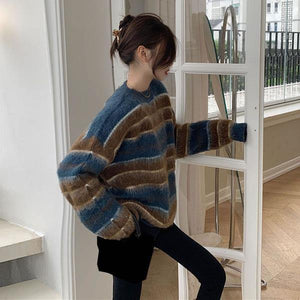 Contrast Color Stripe Knitting Sweater Women Winter New O neck Collar Pullover Loose  All-match