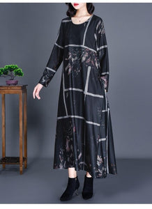long sleeve plus size cotton satin vintage floral for women casual loose autumn dress