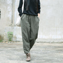 Load image into Gallery viewer, army green linen fall casual patchwork elastic waist pants