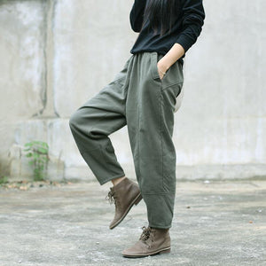 army green linen fall casual patchwork elastic waist pants