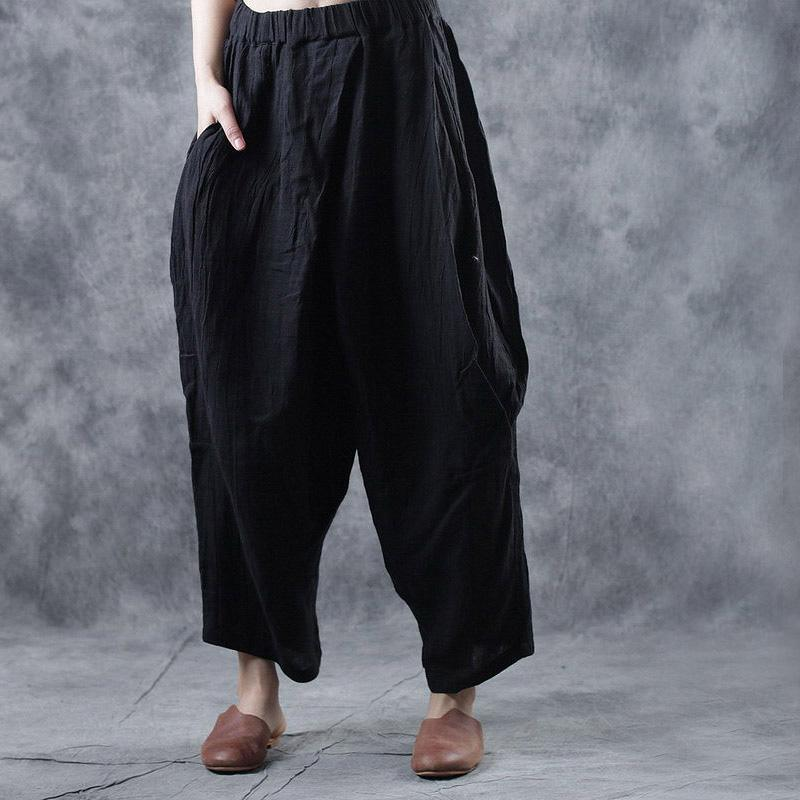 autumn 2019 women black linen casual pants elastic waist crop pants