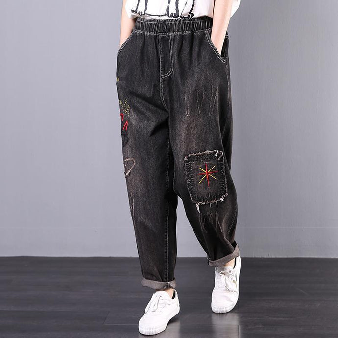 autumn new Korean loose large size literary retro embroidery  harem pants