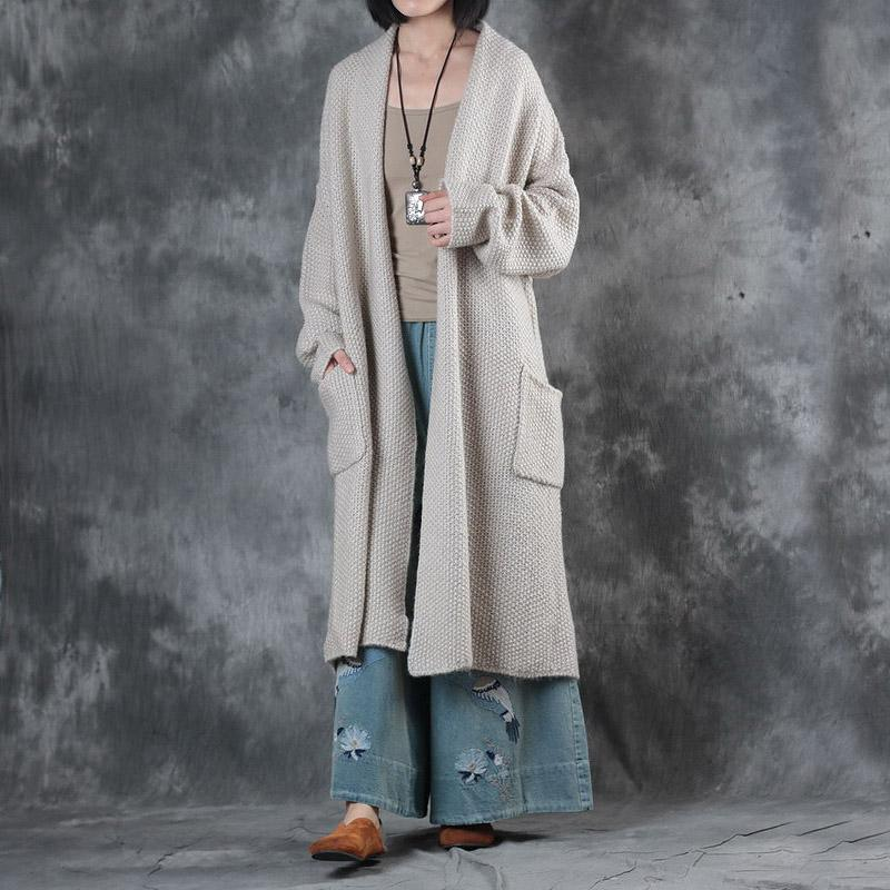 autumn beige casual sweater coats plus size long sleeve cable knit cardigans