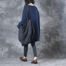 Load image into Gallery viewer, autumn fashion blue cotton sweater blouse oversize long sleeve asymmetric hem knit tops