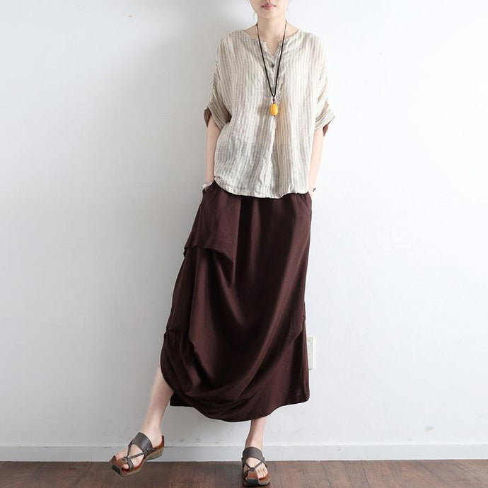 autumn new brown vintage linen maxi skirts plus size wrinkled casual skirts