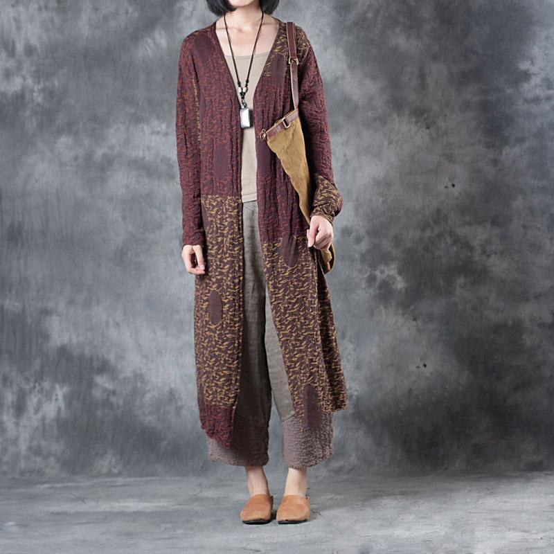 autumn outfits 2017 linen patchwork cardigans oversize casual wrap sweater coat