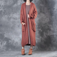 Load image into Gallery viewer, autumn plus size  woolen cardigans plus size casual long sleeve sweater trench coat