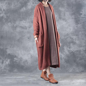autumn plus size  woolen cardigans plus size casual long sleeve sweater trench coat