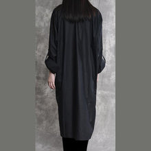 Load image into Gallery viewer, autumn unique black cotton cardigans asymmetric hem oversize long sleeve shirts