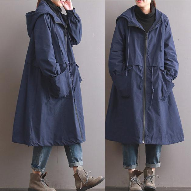 autumn warm blue hooded cotton trench plus size casual long sleeve tie waist trench coats