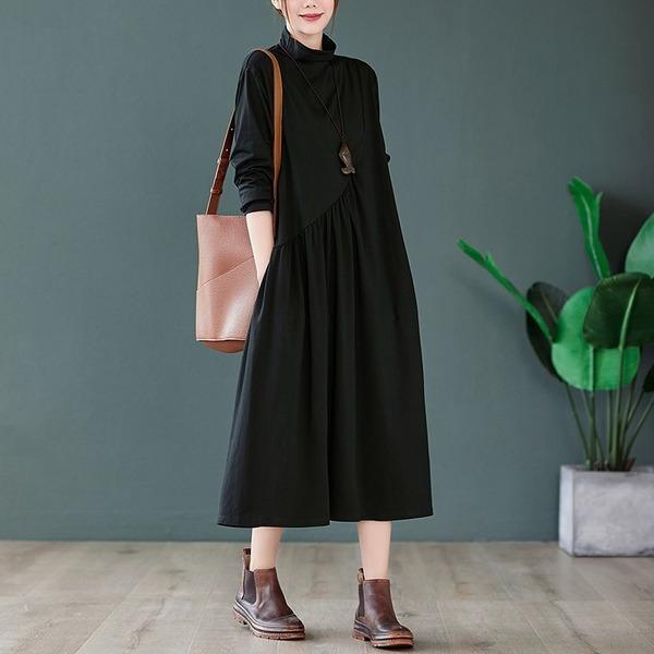 omychic plus size cotton knitted vintage for women causal loose spring autumn dress