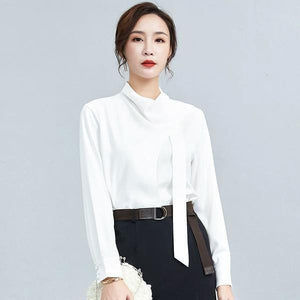 2020 Winter Casual Fashion New Style Temperament All Match Stand Collar Blouse
