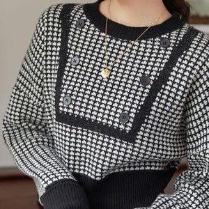 Knitting Houndstooth Sweater Women Winter The New Long Sleeve O-neck Collar Pullover