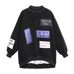 Patchwork Letter Print Pattern Sweatshirt  Winter  Style Temperament All Match Sweatshirt