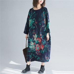 long sleeve cotton linen plus size Oversized vintage floral women casual loose autumn elegant dress clothes