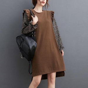Korean Style Patchwork Print Chiffon Long Sleeve Ladies Knee-length Dresses