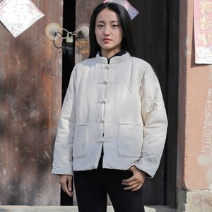 Women Chinese Style Parkas Cotton Linen Vintage Stand Coat