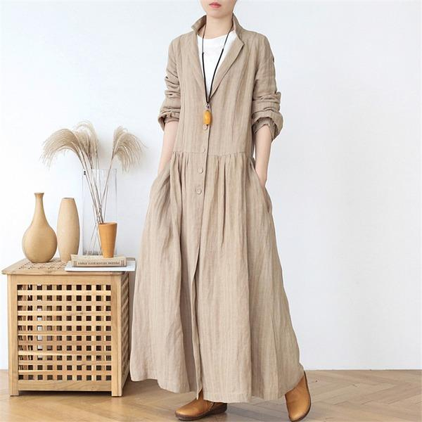 Button 2020 Spring Vintage Stand Long Sleeve Solid Color Robes Loose Coat