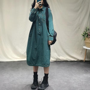 Women Autumn Loose Solid Color Turn Down Collar Dress
