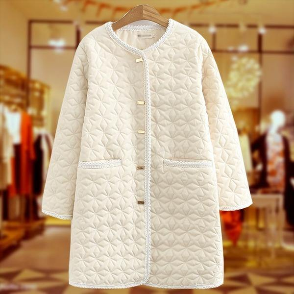 new single-breasted cotton coat mid-length fashion size down jacket cotton liner jacket female