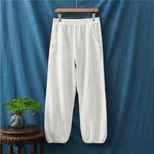 Load image into Gallery viewer, Loose Ramie Elastic Waist Pants Loose Vintage Solid Color Trousers