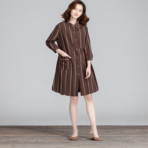 Cotton Women Splicing Casual Linen Loose Stripe Pocket Dress