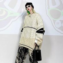 Load image into Gallery viewer, Women Casual Winter New Fashion Minority Contrast Color Sleeve Street All-match