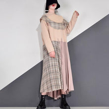 Load image into Gallery viewer, Patchwork Plaid Pleated Dress Women Winter Trendy Fashion New Style O Neck Pullover