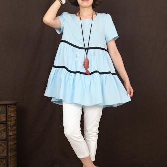 baby blue women linen summer top shirt oversize blouse sundress