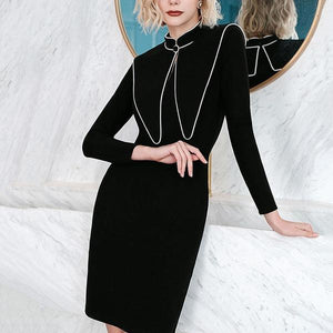 Knitting Splicing Stand Collar Dress Black Long Sleeve Pullover Casual All-match Winter Fashion New Temperament