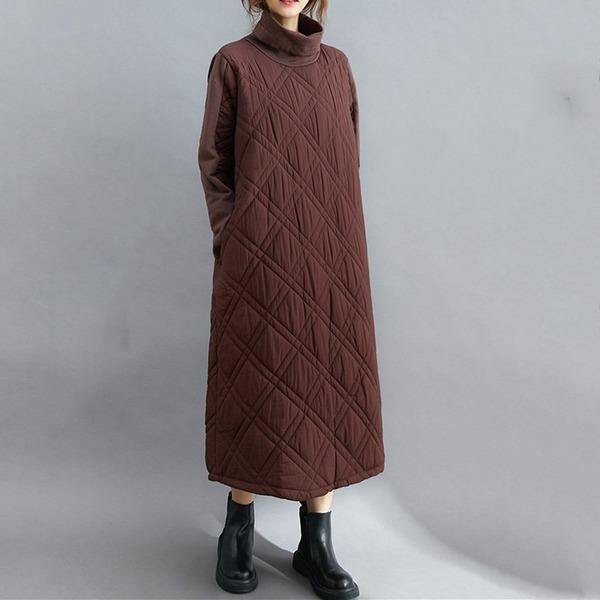 omychic plus size Padded cotton vintage for women casual loose autumn winter dress