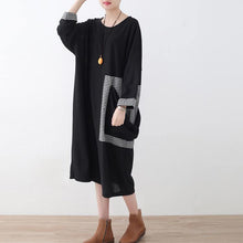 Load image into Gallery viewer, baggy black Plaid casual O neck clothing dress vintage patchwork dresses