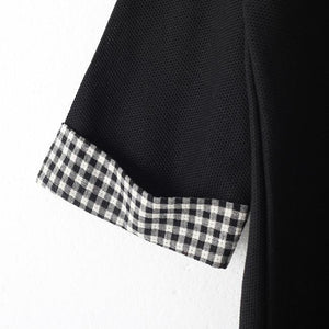 baggy black Plaid casual O neck clothing dress vintage patchwork dresses