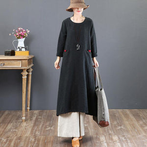 baggy black cotton caftans plus size clothing o neck traveling dress New pockets Chinese Button autumn dress