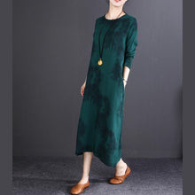Load image into Gallery viewer, baggy blackish green print long cotton linen dresses oversize O neck baggy dresses linen clothing dresses