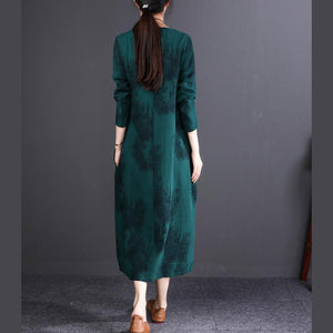 baggy blackish green print long cotton linen dresses oversize O neck baggy dresses linen clothing dresses