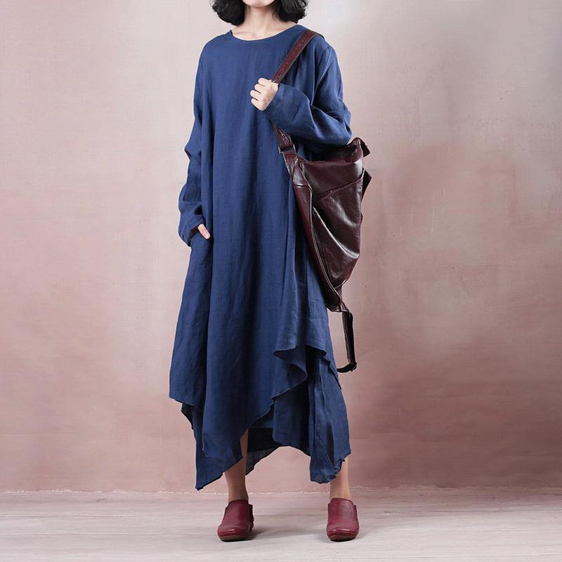 baggy blue linen maxi dress plus size long sleeve linen clothing dress casual asymmetric hem gown