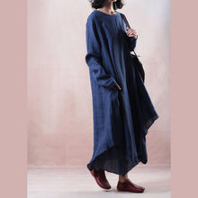 Load image into Gallery viewer, baggy blue linen maxi dress plus size long sleeve linen clothing dress casual asymmetric hem gown