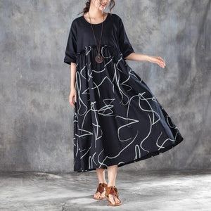 baggy cotton blended maxi dress plus size Women Cotton blended Loose Summer Dress with Lace