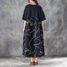 Load image into Gallery viewer, baggy cotton blended maxi dress plus size Women Cotton blended Loose Summer Dress with Lace