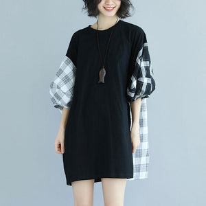 baggy cotton dresses trendy plus size Round Neck Lantern Sleeve Splicing Black Short Dress