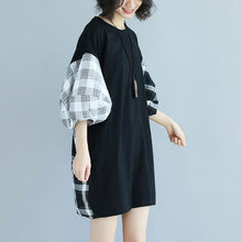 Load image into Gallery viewer, baggy cotton dresses trendy plus size Round Neck Lantern Sleeve Splicing Black Short Dress