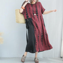 Load image into Gallery viewer, baggy dotted cotton linen dresses plus size O neck short sleeve dresses women tie waist baggy dresses patchwork maxi dresses