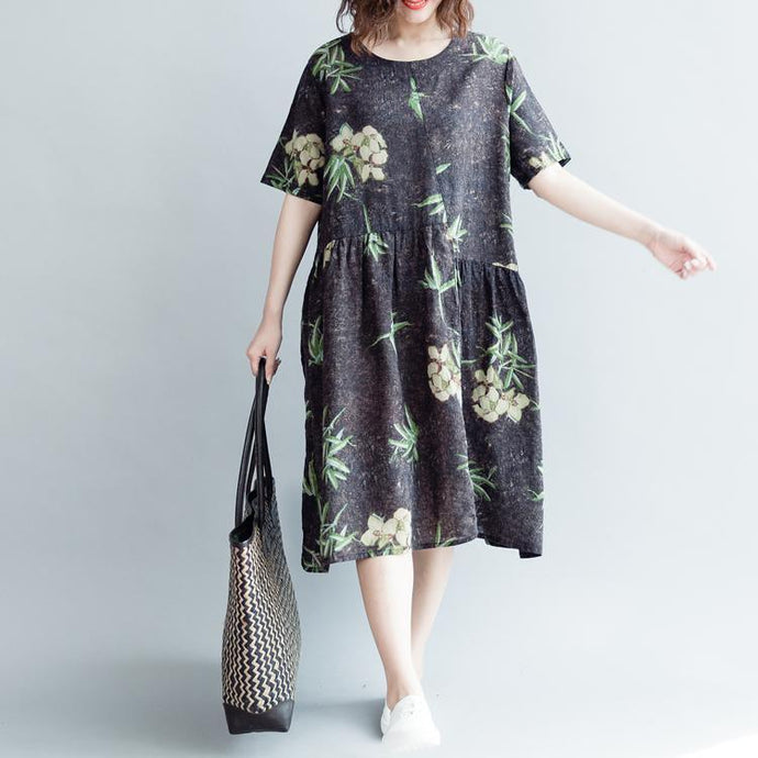 baggy floral cotton linen long dress Loose fitting O neck baggy dresses vintage short sleeve wrinkled dresses