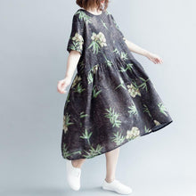 Load image into Gallery viewer, baggy floral cotton linen long dress Loose fitting O neck baggy dresses vintage short sleeve wrinkled dresses