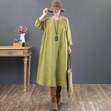 Load image into Gallery viewer, baggy green linen maxi dress plus size o neck linen gown vintage long sleeve gown