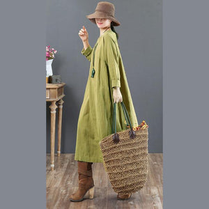 baggy green linen maxi dress plus size o neck linen gown vintage long sleeve gown