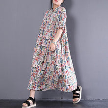 Load image into Gallery viewer, baggy long cotton dress plus size Long Leisure Loose Short Sleeve Dots Summer Dress
